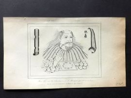 L'Univers C1850 Antique Print. Fou-hi, Musical instruments 02